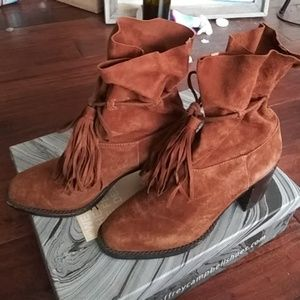 Jeffrey Campbell laforge tan suede boot